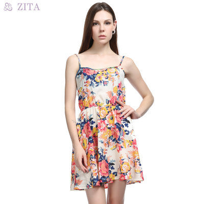 2016 Popular Women's Fashion Floral Printed Chiffon Spaghetti Strap Party Beach Summer Dress _ 3113