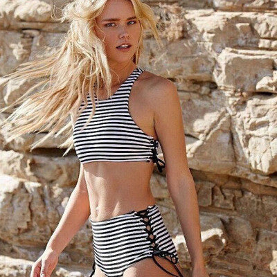 Sexy Zebra Stripes Women Two Piece Summer Swimsuit Bathing Suit Bandage Bikini Set _ 221