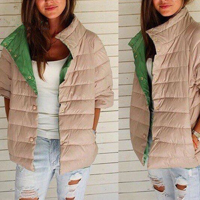 2016 Autumn Women's Trending Popular Warm Fashion Mixed Color Cotton Outerwear Jacket _ 8653