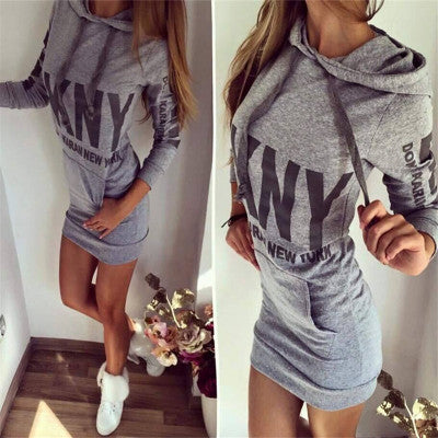 """ DKNY "" Trending Fashion Printed Long Sleeve Package Hip Alphabets Words Hooded One Piece Dress _ 11130"