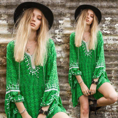 2016 Retro Vintage Tribal Ethnic Floral Printed Lace Lace Floral Printed Casual Party Playsuit Bodycon Boho Dress _ 3584