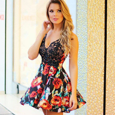 2016 Floral Printed Lace Sexy Floral Printed V Neck Erotic Casual Party Playsuit Bodycon Boho Dress _ 3609
