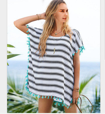 2016 Chiffon Tassel Beach Casual Party Playsuit Clubwear Bodycon Boho Dress Shirt Blouse Top Smock Gown _ 4550