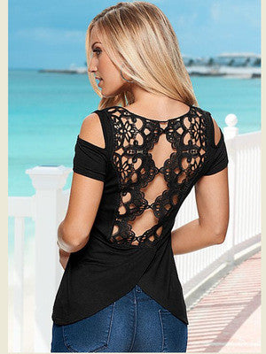 2016 Lace Off Shoulder Short Sleeve Casual Party Playsuit Clubwear Bodycon Boho Top Shrit T-Shirt T-Shirt _ 4525