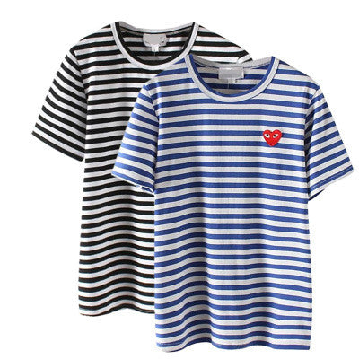 Heart Stripes Printed Red Short Sleeve Casual Party Wear Holiday Plain Short Sleeve Top Shirt Blouse T-Shirt _ 4265