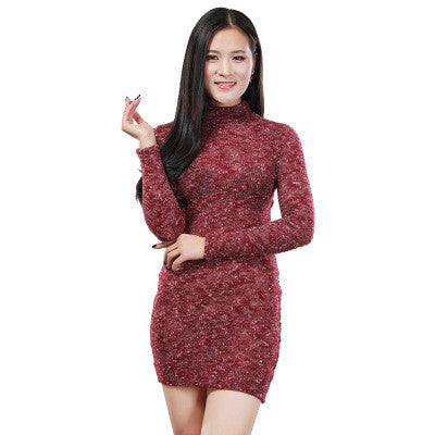 2016 Cardigan Knit Slim Long Long Sleeve Package Hip Casual Party Playsuit Clubwear Bodycon Boho Dress _ 6067