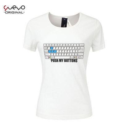 Push My Button Keyboard Printed Round Necked Slim Cut Short Sleeve Shirt Top T-Shirt _ 4002