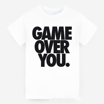 Game Over you Printed White Round Necked Short Sleeve Casual Plain Hipster Top Shirt T-Shirt _ 4010