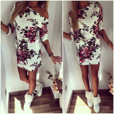 2016 Summer Women's Fashion Floral Printed Boat Neck Off Shoulder Casual Party Mini Skirt Dress _ 3111