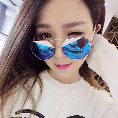 2016 Designer Fashion Retro Vintage Stylish Women Polygon Sunglasses _ 5821