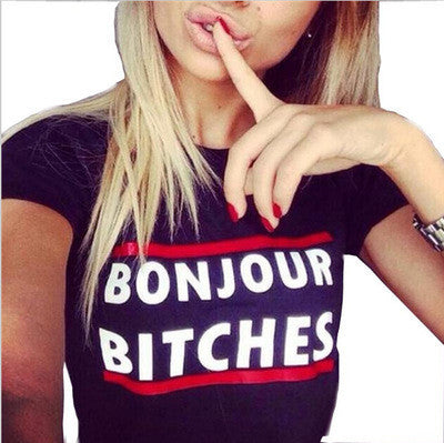 """ Bonjour Bitches "" Women's Trending Popular Fashion 2016 Summer Printed Everyday Wear Short Sleeve Alphabets Words Top Shirt T-Shirt  _ 3721"