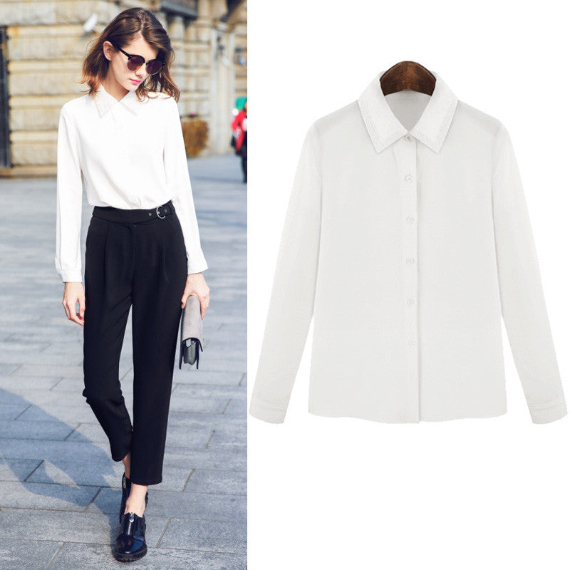2016 Spring Summer Slim Design Casual Women White Shirt