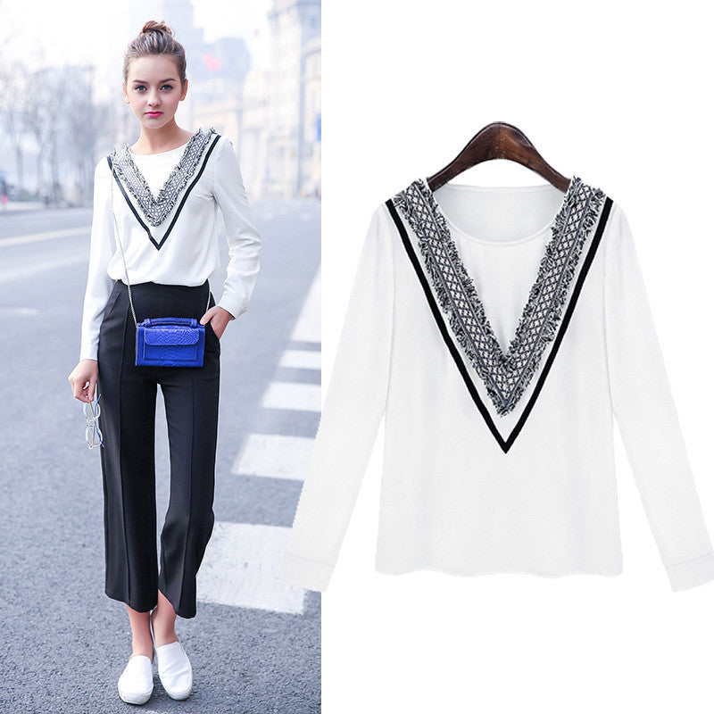 2016 Spring Summer Fashion Designer Round Neck Long Sleeve White Blouser Women Shirt