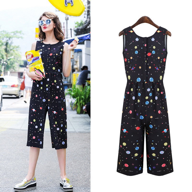 2016 Spring Summer Sleeveless Cute Colorful Pattern women One piece calf-length Romper