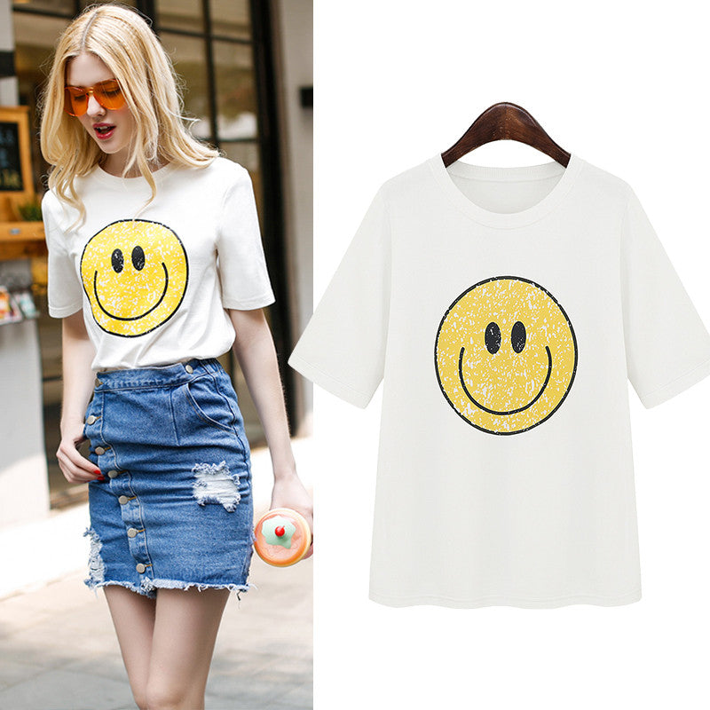 2016 Spring Summer Casual Happy Face Slim Design Women Tshirt