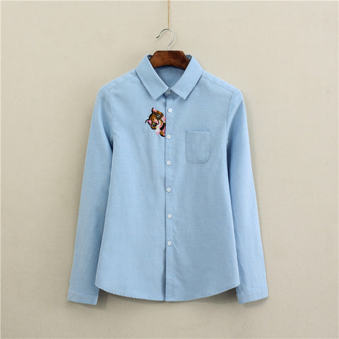 (New Arrival) High Quality Long Sleeved Funny Cat Embroidered Shirt with Pocket - jStorePlus - 1
