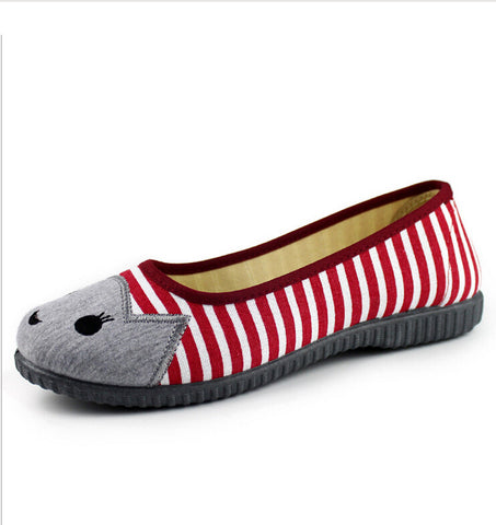 (Hot Sale) Lovely sweet woman striped canvas flat cat shoes - jStorePlus - 1