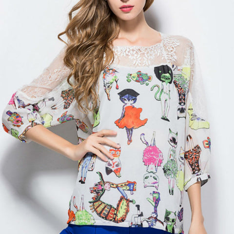 (New Arrival) Patchwork Cat Printing Chiffon Blouse - jStorePlus - 1