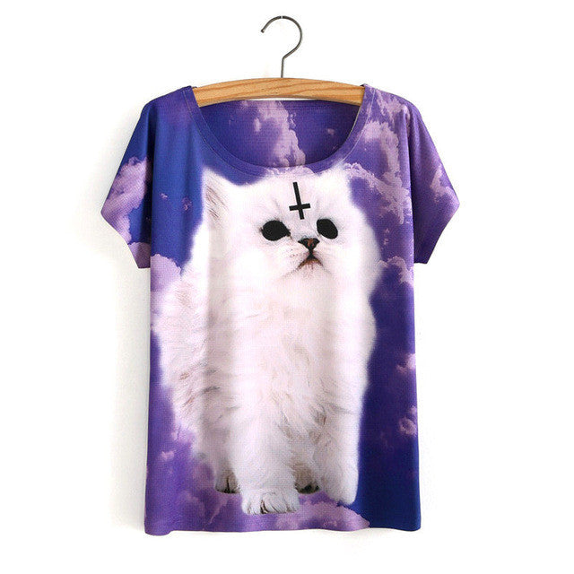 Women Cute Cat Tee (jAH358)