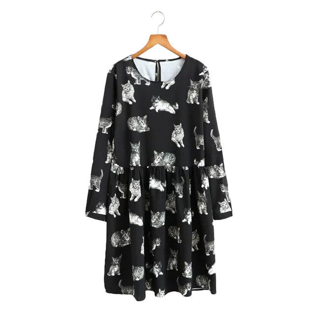Women Cat Print Dress (j5556932)