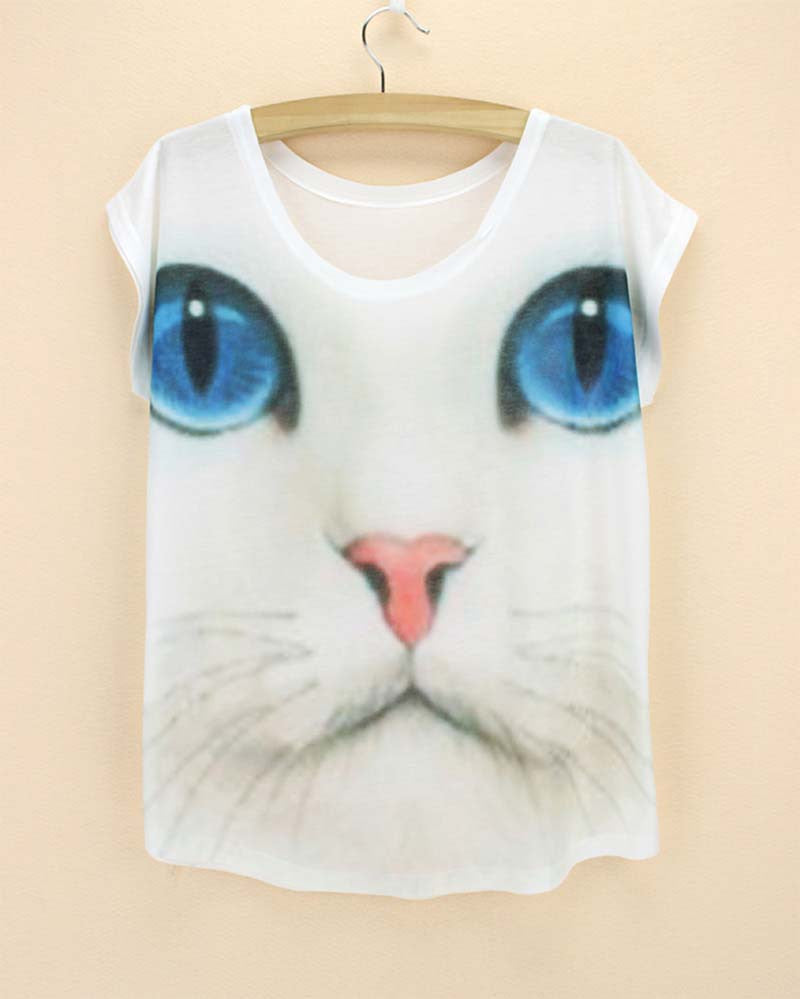 Cat Printed Women T Shirts (j750956j) - jStorePlus