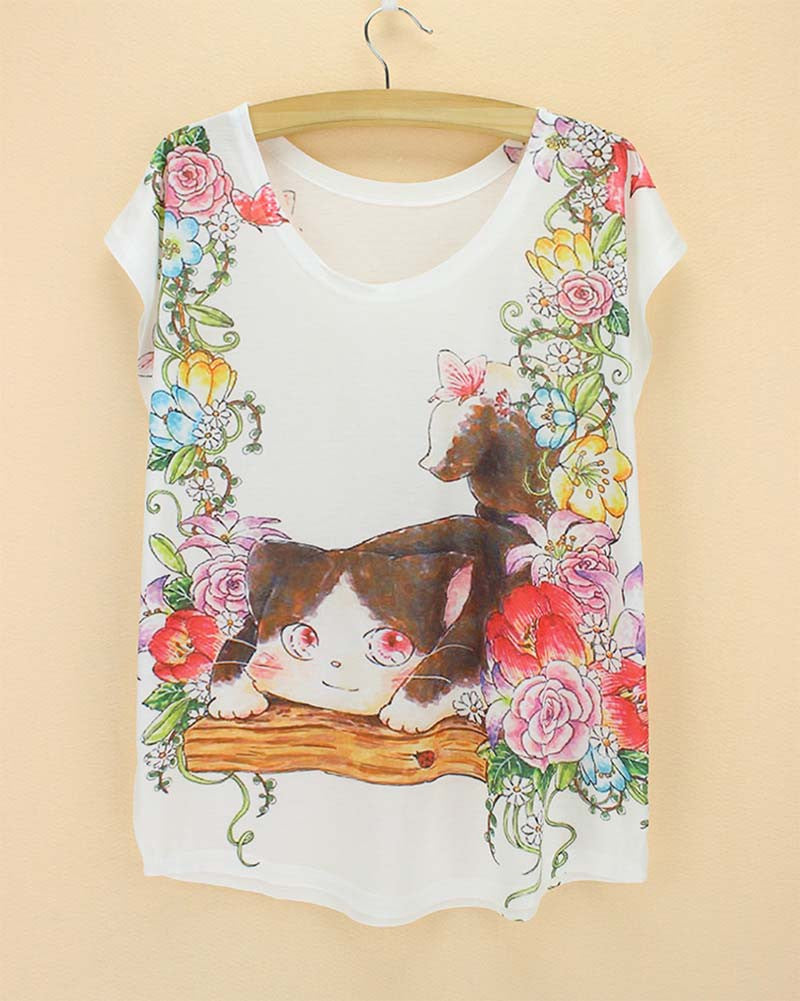 Cat Printed Women T Shirts (j750956m) - jStorePlus