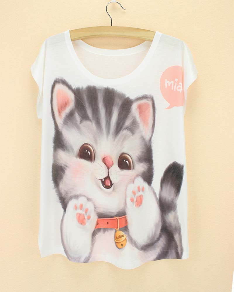 Cat Printed Women T Shirts (j750956n) - jStorePlus