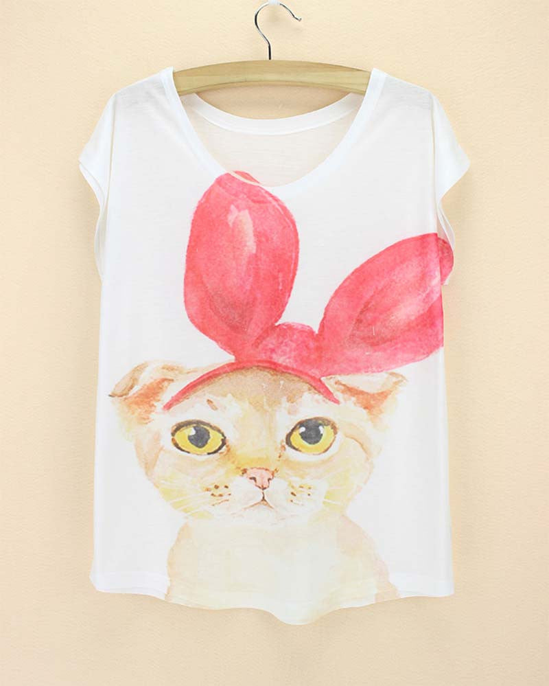 Cat Printed Women T Shirts (j750956f) - jStorePlus