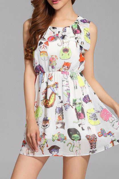 Women O-neck sleeveless printed cute cat chiffon dress - jStorePlus - 1