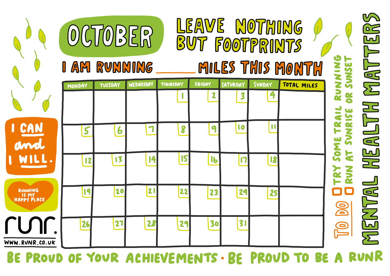 October 'Leave Nothing But Footprints' Mileage Tracker - Free to Download!
