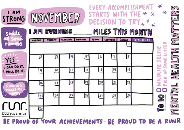November Mileage Tracker - Free to Download!
