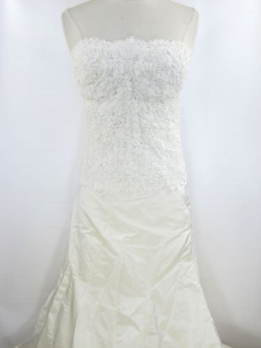 MONIQUE LHUILLIER Ivory Wedding Dress Gown Corset Skirt Satin Sache Vail