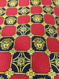 GIANNI VERSACE Men Gold Blue Red Silk Neck Tie Geometrical Medusa Iconic Pattern