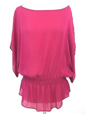 PARKER Women Pink Magenta Silk Drop Waist Band Blouson Tunic Blouse Mini Dress S