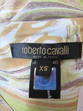 ROBERTO CAVALLI Women Black White Beige Yellow Floral Arm Tie Blouse Top Shirt XS