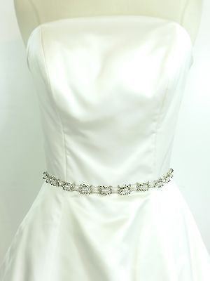 NEW! MONIQUE LHUILLIER Wedding Gown Strapless Waist Detail Accent Rose 8