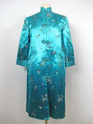 Vintage Women Blue Silk Oriental Design Chinese Kimono Dress Tunic Size 36