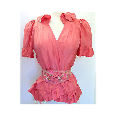 REBECA TAYLOR Women Peach Pink Coral Blouse Top Shirt Belt Appliques Ruffles 6