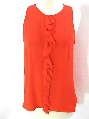 PARKER Women Sleeveless Ruffle Down Centre Blouse Top Shirt Red Silk Losse Fit S