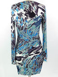 SALE EMILIO PUCCI Dress Long Sleeve Ruched Sides Faux Wrap Blues Greens Black 6