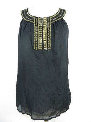 THEME Women Black Gold Studs Embroidery Layered Blouse Top Shirt Sleeveless Sz S