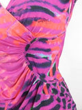 ROBERTO CAVALLI Women Pink Purple Orange Animal Print Ruched Sleeveless Dress 6
