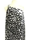 DIANE VON FURSTENBERG Women Off White Black Nude One-Shoulder Silk Maxi Dress Size 4