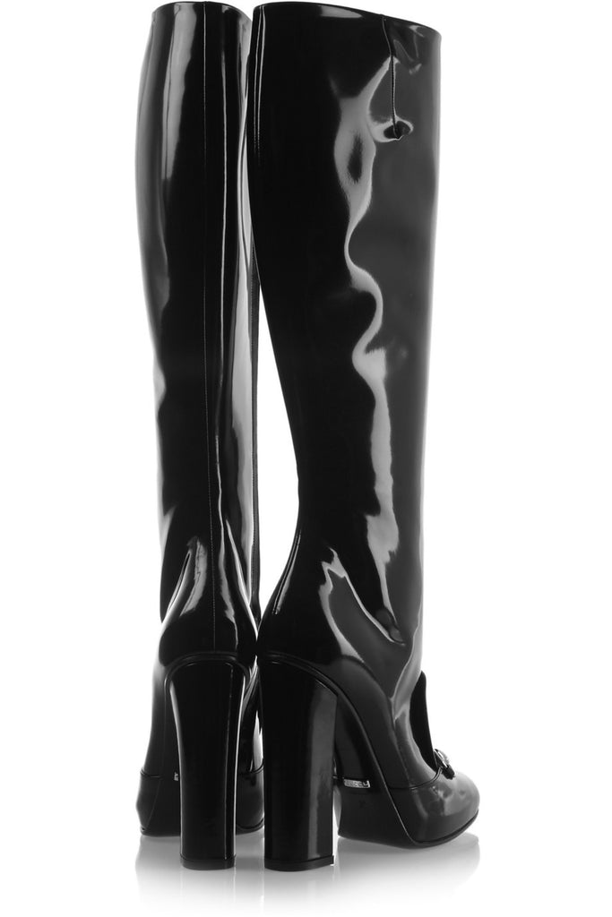 216f94b3bdb GUCCI Black Patent Leather Silver Horsebit Detail Knee Tall Boots 40 ...