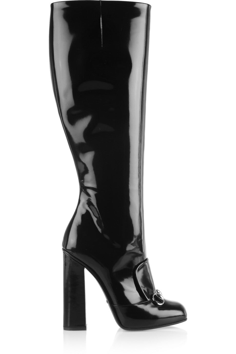 be29c9061a4 NEW! GUCCI Black Patent Leather Silver Horsebit Detail Knee Tall Boots