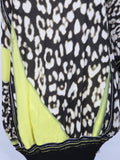 ROBERTO CAVALLI Women Black White YellowIconic Animal Print One Shoulder Dress 40