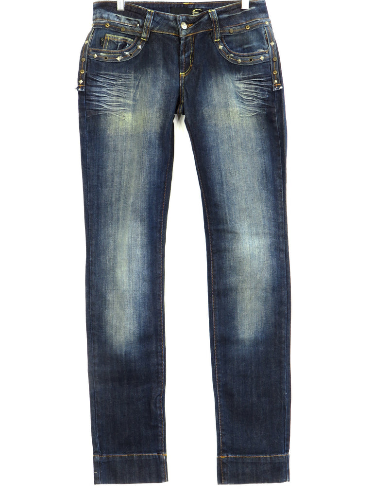 NEW! CAVALLI Women Dark Blue Wash Ragged Look Studs Embellished Jeans 29