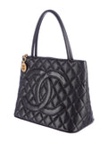 CHANEL Women Black Caviar Leather Large Gold Medallion Shoulder Bag Purse Shopper Tote