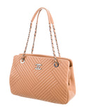 CHANEL Women Beige Leather Quilted Criss Cross Quilted Large Shoulder Bag Purse Shopper Tote