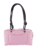 CHANEL Women Pink Black Quilted Cambon Line Shoulder Bag Purse